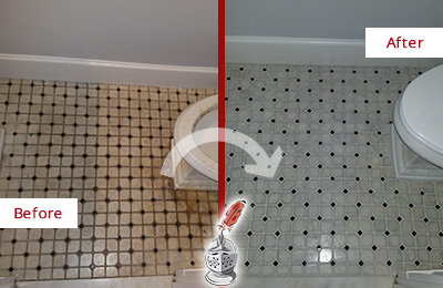 Before and After Picture of a Glen Gardner Bathroom Tile and Grout Cleaned to Remove Stains