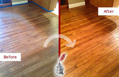 Before and After Picture of a Gladstone Wood Sandless Refinishing Service on a Dull Floor to Recover Its Sheen