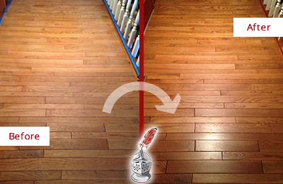 Before and After Picture of a Gladstone Wood Sandless Refinishing Service on a Dull Hallway