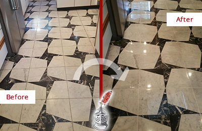 Before and After Picture of a Dull Sergeantsville Marble Stone Floor Polished To Recover Its Luster