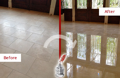 Before and After Picture of a Dull Sergeantsville Travertine Stone Floor Polished to Recover Its Gloss