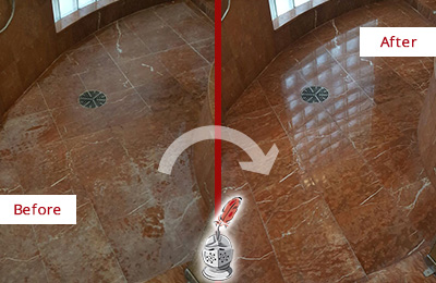 Before and After Picture of a Sergeantsville Marble Stone Shower Polished to Eliminate Mineral Deposits