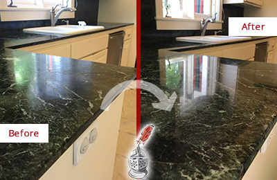 Before and After Picture of a Sergeantsville Marble Stone Counter Polished to Eliminate Water Marks