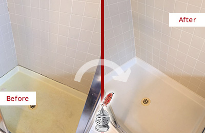 Before and After Picture of a Flagtown Shower Sealed to Remove and Protect Against Mold