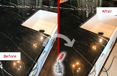 Before and After Picture of a Franklin Park Marble Kitchen Countertop Stone Sealed to Avoid Water Damage