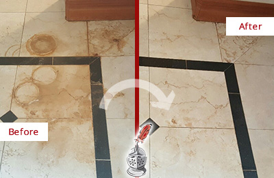 Before and After Picture of a Blawenburg Hard Surface Restoration Service on a Marble Floor to Eliminate Rust Stains