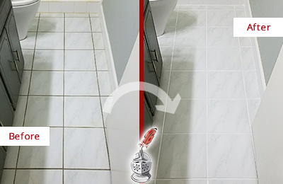 Before and After Picture of a Blawenburg Bathroom Floor Grout Sealed to Remove Grime