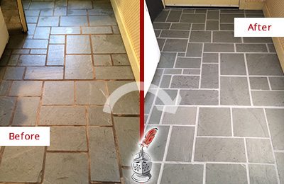 Before and After Picture of Damaged Asbury Slate Floor with Sealed Grout
