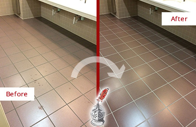 Before and After Picture of Dirty Frenchtown Office Restroom with Sealed Grout