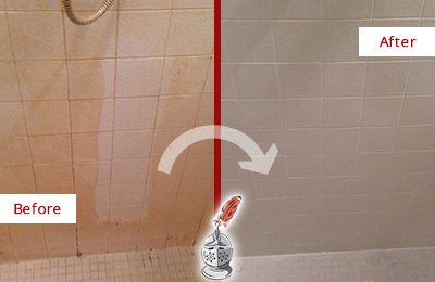 Before and After Picture of a Bloomsbury Porcelaine Shower Cleaned to Remove Soap Scum