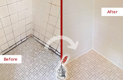 Before and After Picture of a Shower Caulked to Remove Mold