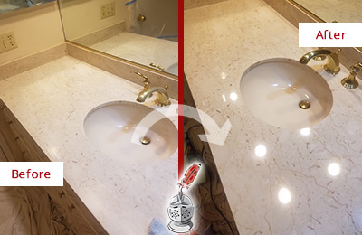 Before and After Picture of a Dull Marble Vanity Top Restored to Remove Etch Marks