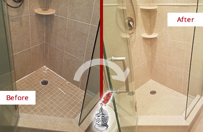 Picture of a Porcelain Tile Shower with Damaged Caulking Before and After a Bathroom Recaulking