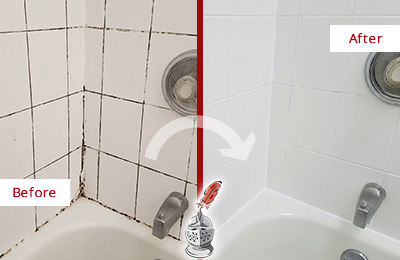 Picture of a White Tile and Tub with Moldy Joints Before and After a Caulking Service