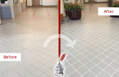 Picture of a Lobby Tile Floor Before and After a Grout Repair