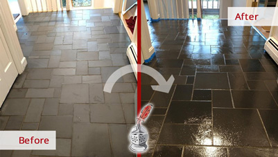 Image of a Stone Surface Before and After a Microguard High Durability Coating Service