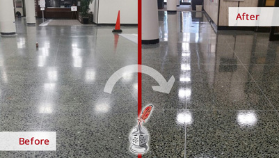 Image of a Terrazzo Surface Before and After a Microguard High Durability Coating Service