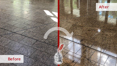 Image of a Tile Surface Before and After a Microguard High Durability Coating Service