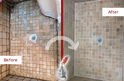 Before and After Picture of Grout Cleaning on a Shower