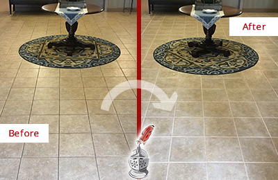 Before and After of a Grout Sealing in a Lobby Tile Floor