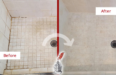 Before and After Picture of a Somerville Shower Caulked to Fix Cracks