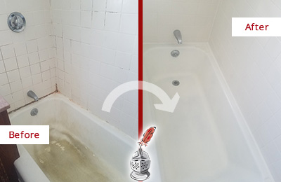 Before and After Picture of a Somerville Bathtub Caulked to Repair Cracks