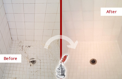 Before and After Picture of a Lyons Bathroom Re-Caulked To Repair Damaged Caulking