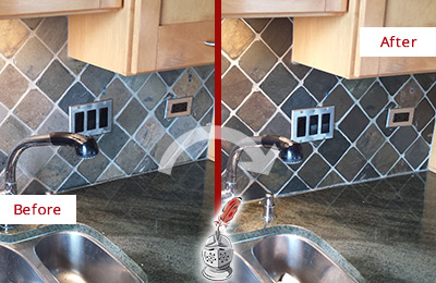 Before and After Picture of a Somerville Backsplash Caulked to Fix and Prevent Water Leaks