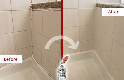 Before and After Picture of a Somerville Shower Caulked to Repair Damaged Caulking