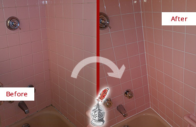 Before and After Picture of a Lyons Bathtub Caulked to Eliminate Mold
