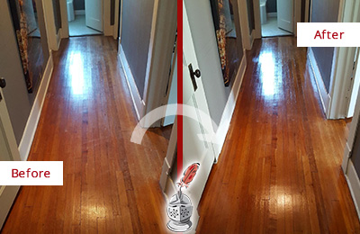 Before and After Picture of a High Bridge Wood Sandless Refinishing Service on a Floor to Eliminate Scratches