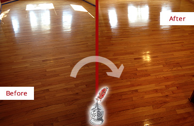 Before and After Picture of a High Bridge Wood Sandless Refinishing Service on a Room Floor to Remove Scratches