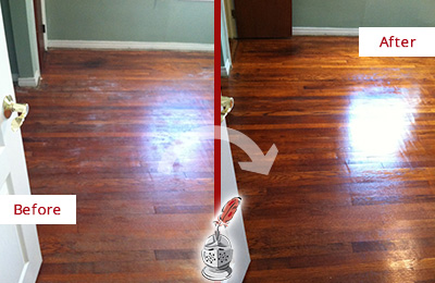 Before and After Picture of a High Bridge Wood Sandless Refinishing Service on a Dull Floor to Remove Stains