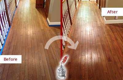 Before and After Picture of a Warren Wood Sandless Refinishing Service on a Worn Out Floor