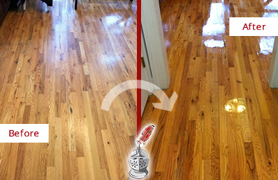 Before and After Picture of a Flagtown Wood Sandless Refinishing Service on a Worn Out Hallway