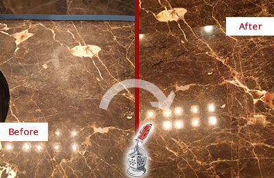 Before and After Picture of a Zarephath Marble Stone Countertop Polished to Eliminate Stains
