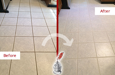 Before and After Picture of a Basking Ridge Kitchen Ceramic Floor Sealed to Protect From Dirt and Spills