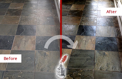 Before and After Picture of a Dull Glen Gardner Slate Floor Sealed to Bring Back Its Colors