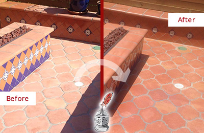 Before and After Picture of a Dull Basking Ridge Terracotta Patio Floor Sealed For UV Protection