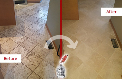 Before and After Picture of a Martinsville Kitchen Marble Floor Cleaned to Remove Embedded Dirt