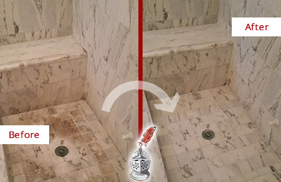 Before and After Picture of a Dirty Martinsville Marble Shower Cleaned to Eliminate Dark Stains