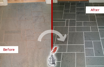 Before and After Picture of a Zarephath Slate Floor Cleaned to Remove Deep-Seated Dirt