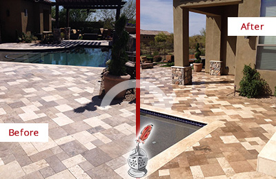 Before and After Picture of a Dull Martinsville Travertine Pool Deck Cleaned to Recover Its Original Colors