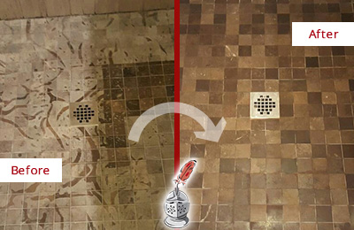 Before and After Picture of a Stained Martinsville Marble Shower Floor Cleaned to Remove Etching