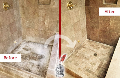 Before and After Picture of a Zarephath Travertine Shower Cleaned to Eliminate Water Spots