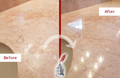 Before and After Picture of a Lambertville Marble Stone Vanity Top Sealed to Avoid Water Marks