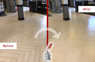 Before and After Picture of a Somerville Hard Surface Restoration Service on an Office Lobby Tile Floor to Remove Embedded Dirt