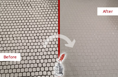Before and After Picture of a Glen Gardner Hard Surface Restoration Service on a Bathroom Tile Floor Recolored to Fix Grout Color