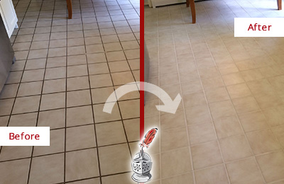 Before and After Picture of a Rosemont Kitchen Tile Floor with Recolored Grout