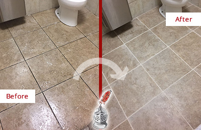 Before and After Picture of a Clinton Office Restroom Floor Recolored Grout
